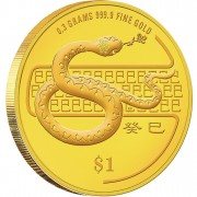 "Gold Bullion Coin SNAKE 2013 ""Lunar"" Series, Singapore"
