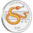 "Silver Colored Coin SNAKE 2013 ""Lunar"" Series, Singapore - 2 oz"