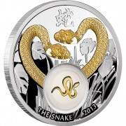 Silver Coin GOLDEN SNAKES 2012 with selective gilding and 24K Gold Plated Piece