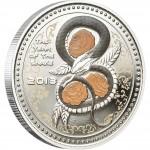 Серебряная монета ГОД ЗМЕИ 2013, Острова Кука - 1 унция