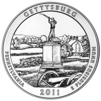 America the Beautiful Silver Coin – Gettysburg National Military Park, Pennsylvania 2011 - 5oz